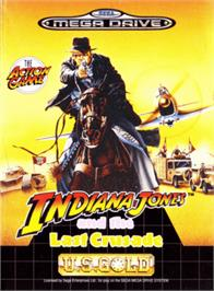 Box cover for Indiana Jones and the Last Crusade: The Action Game on the Sega Genesis.