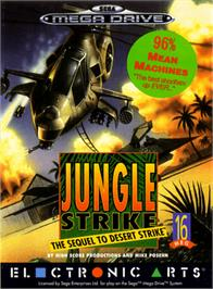 Box cover for Jungle Strike on the Sega Genesis.