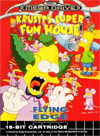 Box cover for Krusty's Fun House on the Sega Genesis.