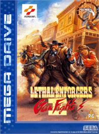 Box cover for Lethal Enforcers II: Gun Fighters on the Sega Genesis.