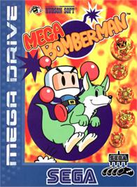 Box cover for Mega Bomberman on the Sega Genesis.