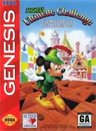 Box cover for Mickey's Ultimate Challenge on the Sega Genesis.