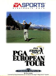 Box cover for PGA European Tour on the Sega Genesis.