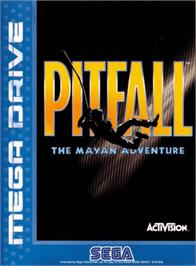 Box cover for Pitfall: The Mayan Adventure on the Sega Genesis.