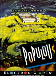 Box cover for Populous on the Sega Genesis.