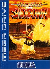 Box cover for Samurai Shodown / Samurai Spirits on the Sega Genesis.
