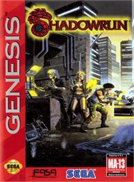 Box cover for Shadowrun on the Sega Genesis.