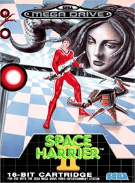 Box cover for Space Harrier II on the Sega Genesis.