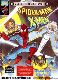Box cover for Spider-Man and the X-Men: Arcade's Revenge on the Sega Genesis.