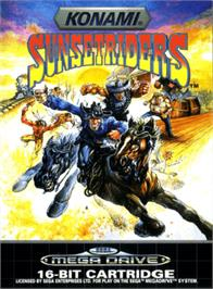 Box cover for Sunset Riders on the Sega Genesis.