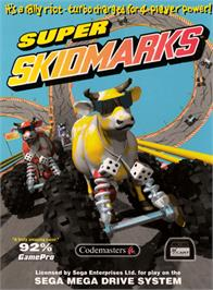 Box cover for Super Skidmarks on the Sega Genesis.