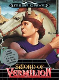 Box cover for Sword of Vermilion on the Sega Genesis.