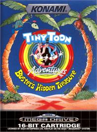 Box cover for Tiny Toon Adventures: Buster's Hidden Treasure on the Sega Genesis.