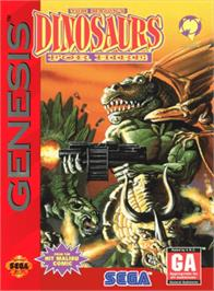Box cover for Tom Mason's Dinosaurs for Hire on the Sega Genesis.