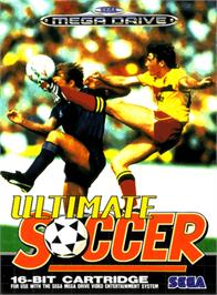 Box cover for Ultimate Soccer on the Sega Genesis.