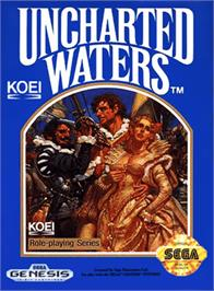 Box cover for Uncharted Waters on the Sega Genesis.