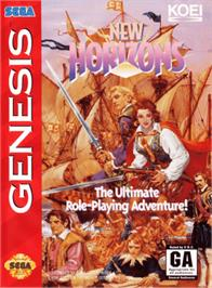Box cover for Uncharted Waters 2: New Horizons on the Sega Genesis.