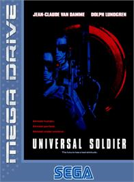 Box cover for Universal Soldier on the Sega Genesis.