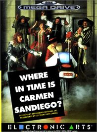 Box cover for Where in Time is Carmen Sandiego on the Sega Genesis.