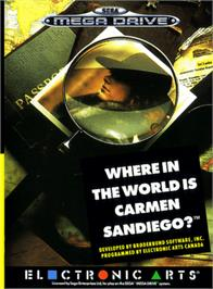 Box cover for Where in the World is Carmen Sandiego on the Sega Genesis.