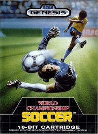 Box cover for World Championship Soccer on the Sega Genesis.