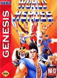 Box cover for World Heroes on the Sega Genesis.