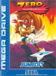 Box cover for Zero the Kamikaze Squirrel on the Sega Genesis.