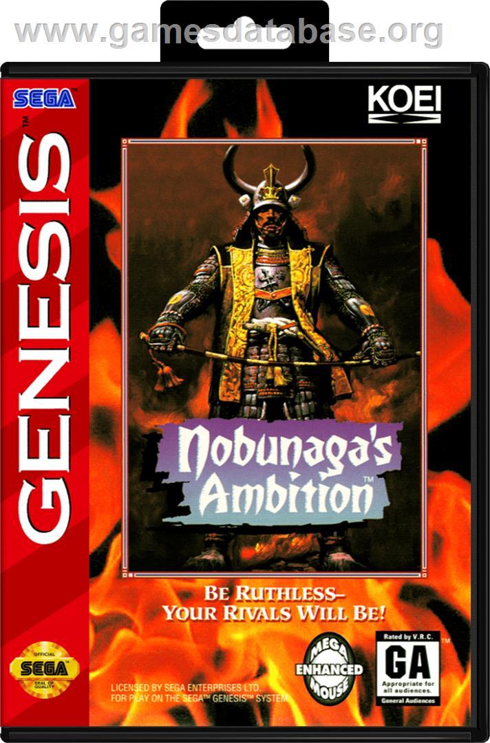 Box cover for Nobunaga's Ambition on the Sega Genesis.