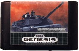 Cartridge artwork for Abrams Battle Tank on the Sega Genesis.
