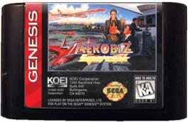 Cartridge artwork for Aerobiz Supersonic on the Sega Genesis.