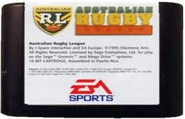 Cartridge artwork for Australian Rugby League on the Sega Genesis.