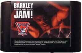 Cartridge artwork for Barkley: Shut Up and Jam on the Sega Genesis.