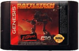 Cartridge artwork for Battletech: A Game of Armored Combat on the Sega Genesis.