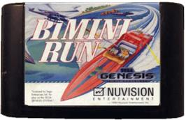 Cartridge artwork for Bimini Run on the Sega Genesis.