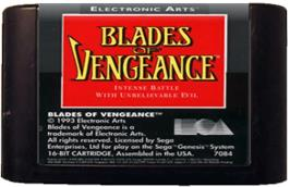 Cartridge artwork for Blades of Vengeance on the Sega Genesis.