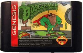 Cartridge artwork for Boogerman: A Pick and Flick Adventure on the Sega Genesis.