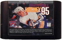 Cartridge artwork for Brett Hull Hockey '95 on the Sega Genesis.