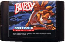 Cartridge artwork for Bubsy in: Claws Encounters of the Furred Kind on the Sega Genesis.
