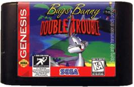 Cartridge artwork for Bugs Bunny in Double Trouble on the Sega Genesis.