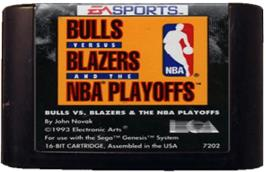 Cartridge artwork for Bulls vs. Blazers and the NBA Playoffs on the Sega Genesis.