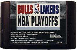 Cartridge artwork for Bulls vs. Lakers and the NBA Playoffs on the Sega Genesis.