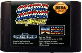 Cartridge artwork for Captain America and The Avengers on the Sega Genesis.