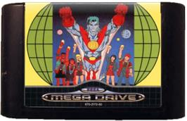 Cartridge artwork for Captain Planet and the Planeteers on the Sega Genesis.