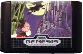 Cartridge artwork for Castle of Illusion starring Mickey Mouse on the Sega Genesis.