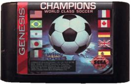 Cartridge artwork for Champions World Class Soccer on the Sega Genesis.