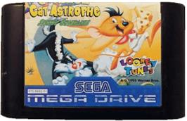Cartridge artwork for Cheese Cat-Astrophe starring Speedy Gonzales on the Sega Genesis.