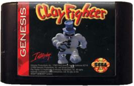 Cartridge artwork for Clay Fighter on the Sega Genesis.