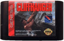 Cartridge artwork for Cliffhanger on the Sega Genesis.