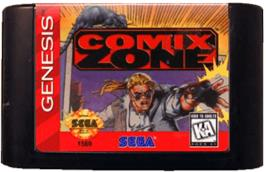 Cartridge artwork for Comix Zone on the Sega Genesis.