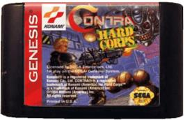 Cartridge artwork for Contra Hard Corps on the Sega Genesis.